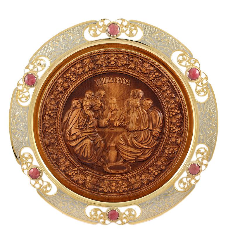 Декоративная тарелка на стену с элементами резьбы по дереву