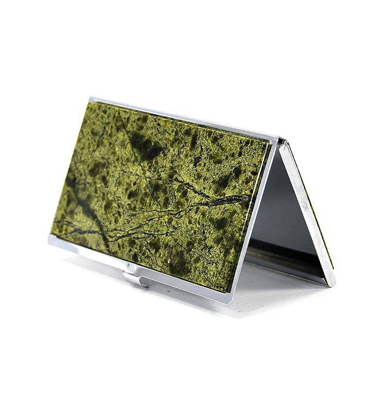Визитница карманная с накладкой из натурального камня
