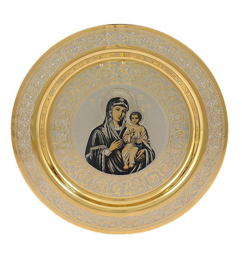Декоратвная тарелка на стену с изображением Казанской Богоматери с младенцем
