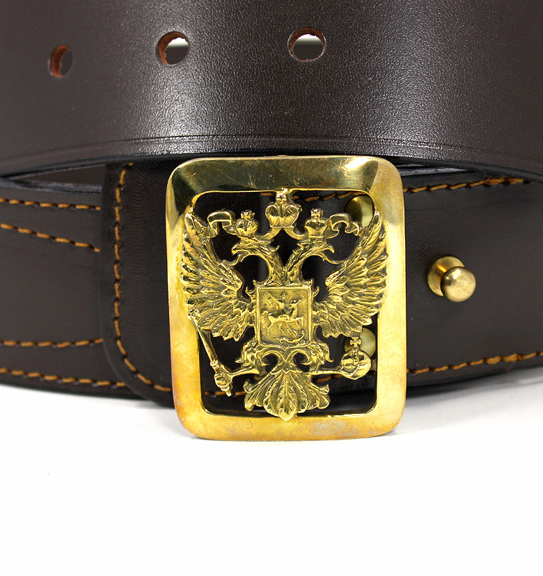 Купить кожаный офицерский ремень с латунной пряжкой